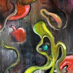 """""""The electric apple controversy"""", acrylic and oil on canvas"""
