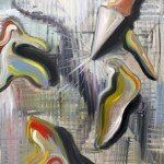 """""""Sparkleknife"""", acrylic and oil on canvas--currently on display at Nestology (King of Prussia, PA)"""