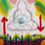 """""""Buddha arrows"""", acrylic and oil on board--SOLD"""