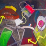 """""""Money for nothing"""", acrylic, mixed media and collage on canvas 40 X 65 inches (101.5 X 165 cm)"""