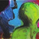 """""""Greetings from my home planet"""", acrylic on canvas 12 X 24 inches (30.5 X 61 cm)--SOLD"""