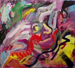 """""""Je me prends la tete"""", acrylic on canvas,24 X 24 inches (61 X 61 cm)"""
